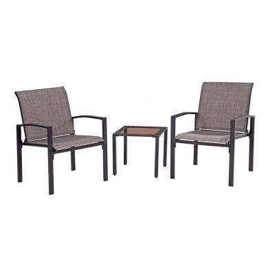 Black 3-Piece Metal Galveston Outdoor Seating Set
