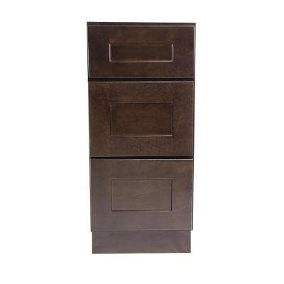 Brookings Plywood Assembled Shaker 15x34.5x24 in. 3-Drawer Base Kitchen Cabinet in Espresso