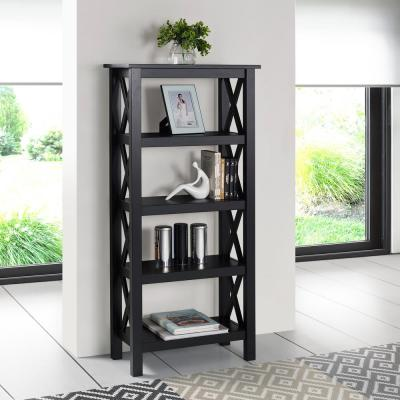 Ramsey 54 in. Black Wood 4-shelf Standard Bookcase with Open Back