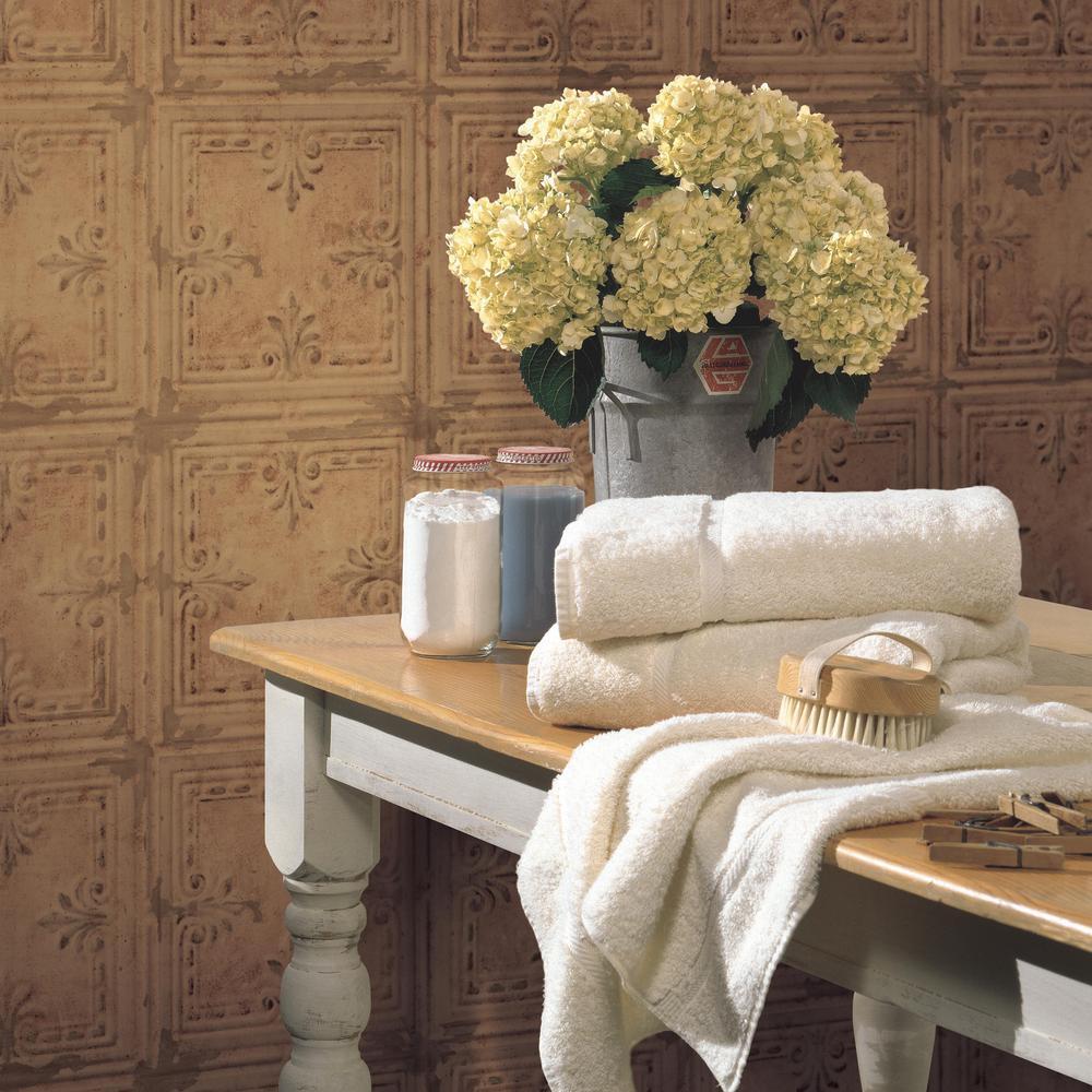 28.18 sq. ft. Copper Tin Tile Peel and Stick Wallpaper