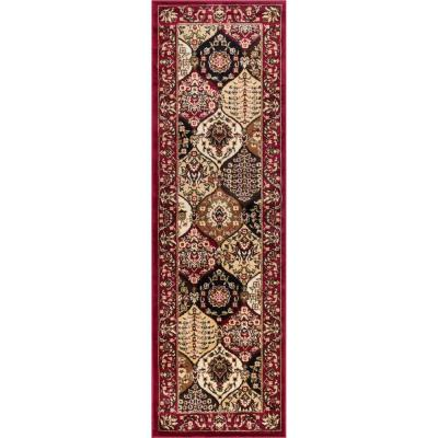 Barclay Wentworth Panel Red 3 ft. x 10 ft. Traditional Runner Rug