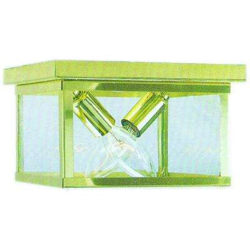 2-Light Polished Brass Flushmount