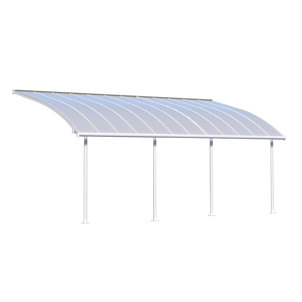 Palram joya 10 ft x 24 ft white patio cover awning for Home depot patio installation