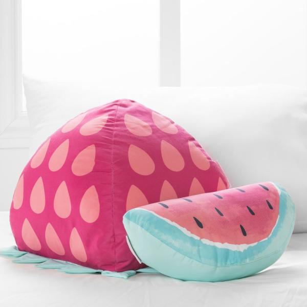 Dreamit Pink and Turquoise Strawberry and Watermelon 11 in. x 11 in. Throw Pillow (Set of 2)