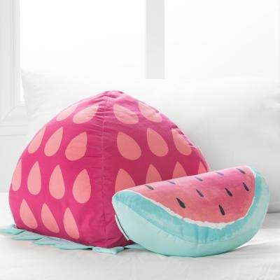 DreamIt Pink and Turquoise Strawberry and Watermelon Throw Pillows (2-Pack)
