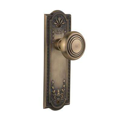 Meadows Plate 2-3/4 in. Backset Antique Brass Privacy Deco Door Knob