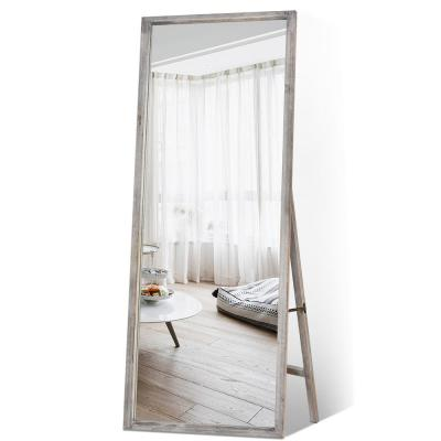 Retro 65 in. x 22 in. Grey Distessed Wood Frame Floor Mirror Full Length Standing for Farmhouse