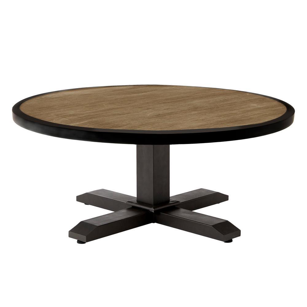 Hampton Bay Grayson Brown Round Steel Outdoor Coffee Table