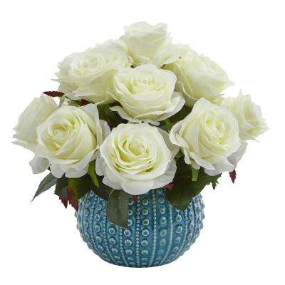 11.5 in. High White Roses Artificial Arrangement in Blue Ceramic Vase