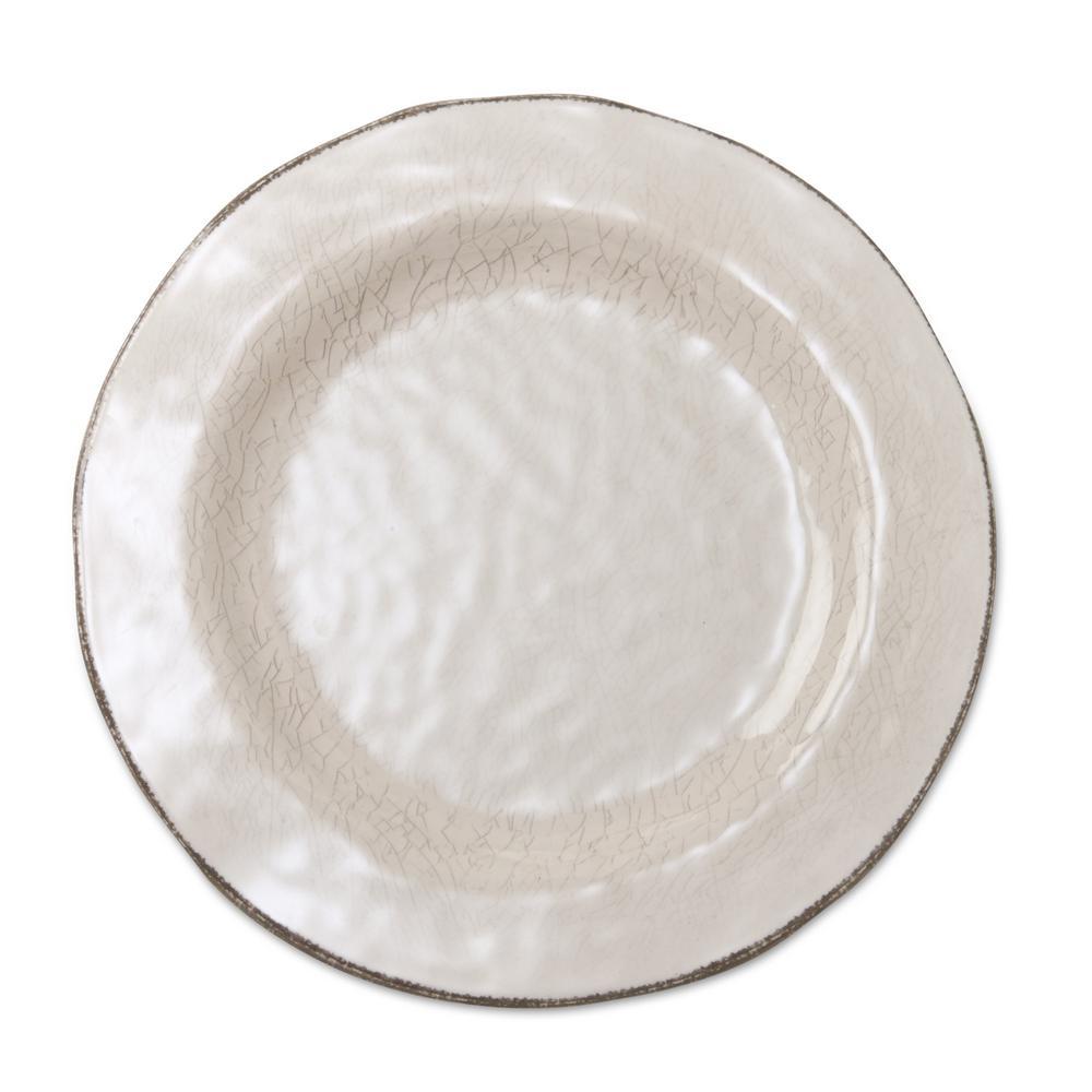 10-3/4 in. Ivory Veranda Melamine Dinner Plates (Set of 4)