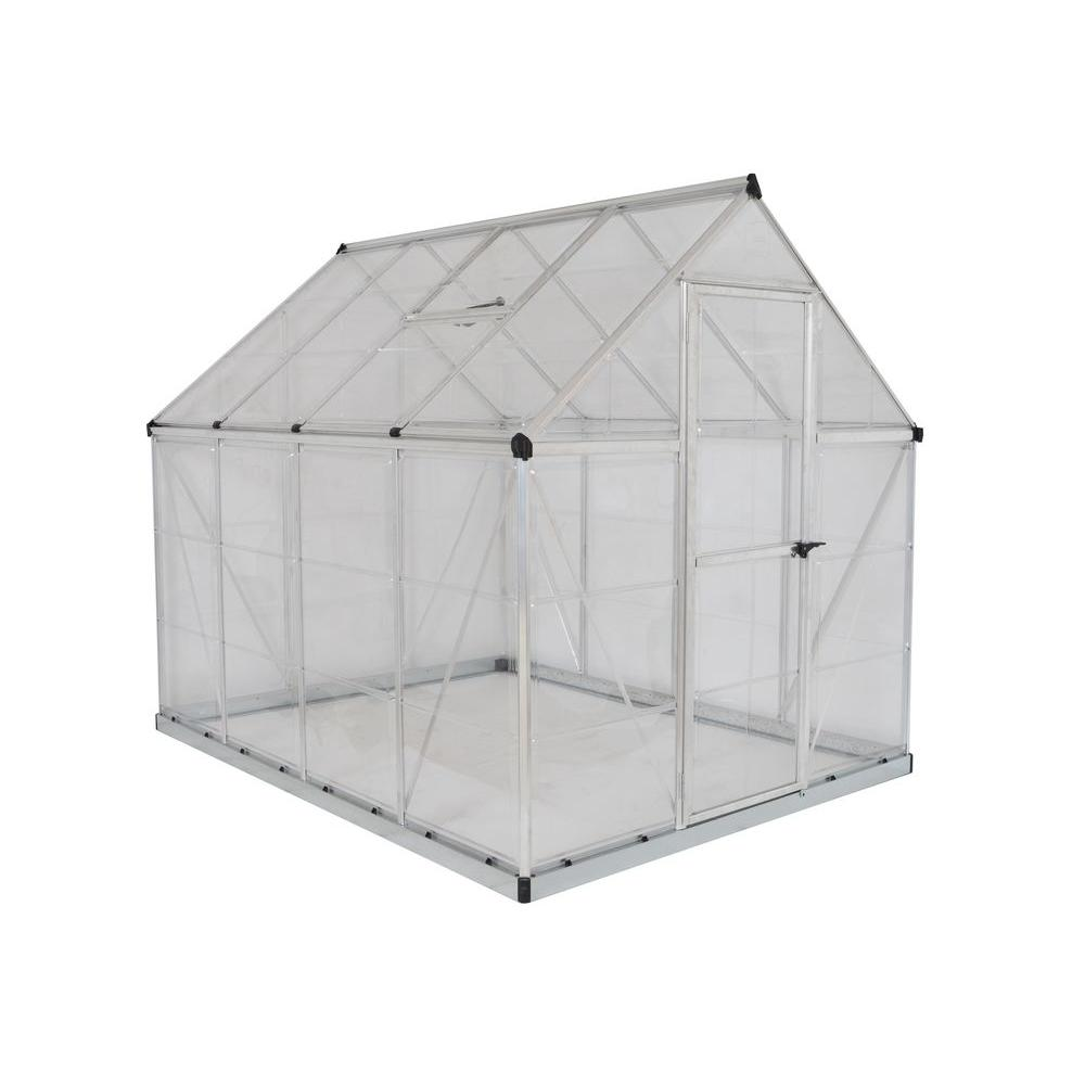 Palram Harmony 6 ft  x 8 ft  Polycarbonate Greenhouse in Silver