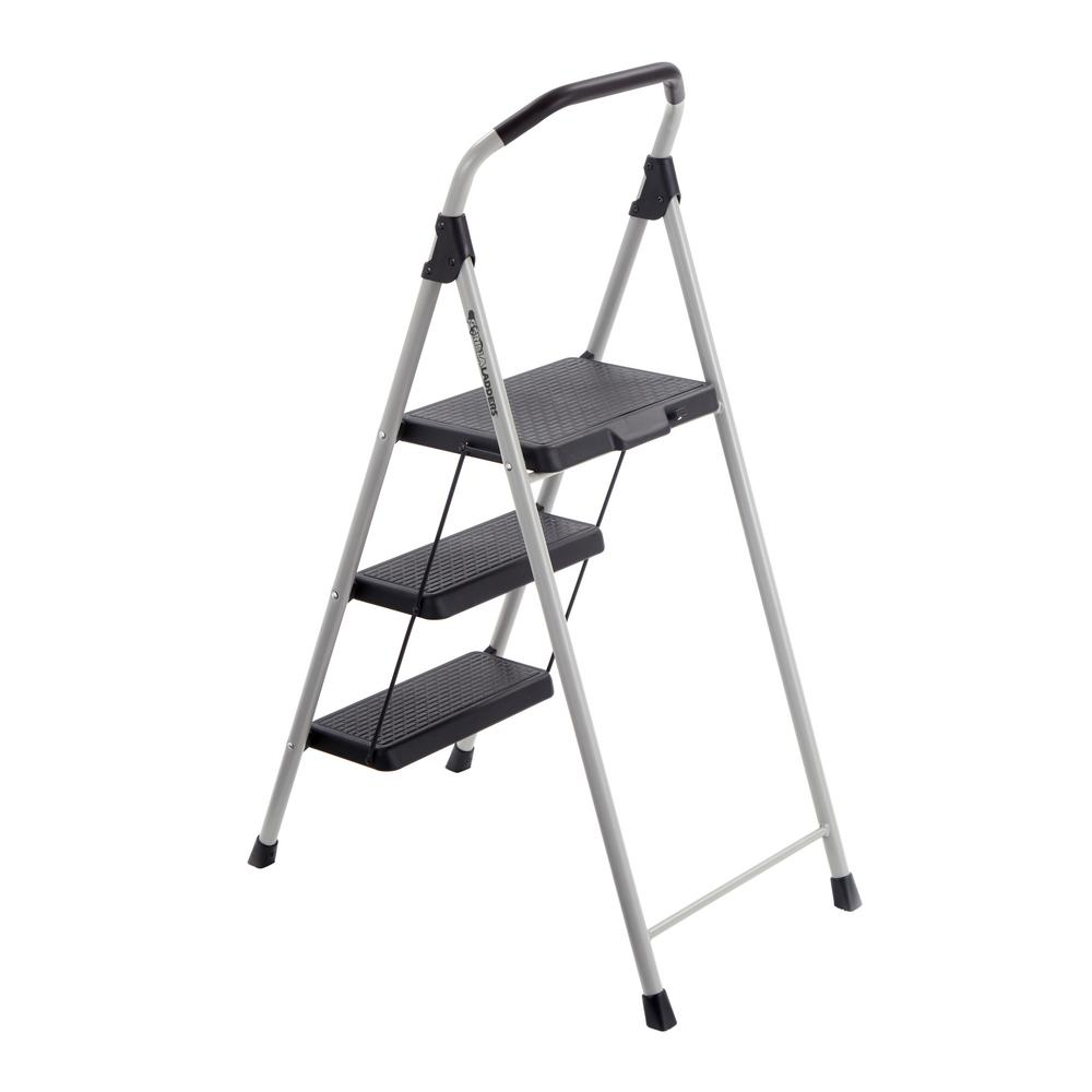3 Step Folding Step Stool Foldable Compact Ladder Metal
