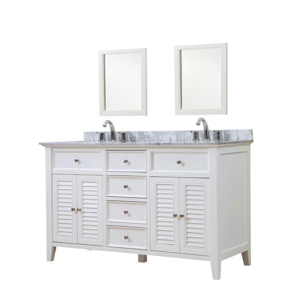 Shutter 60 in. Vanity in White with Marble Vanity Top in