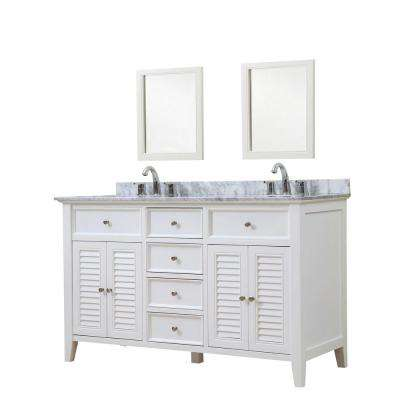 Shutter 60 in. Vanity in White with Marble Vanity Top in White Carrara with White Basins and Mirrors
