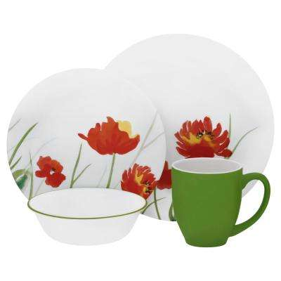 Vive 16-Piece Red with Yellow Flowers Kalypso Dinnerware Set