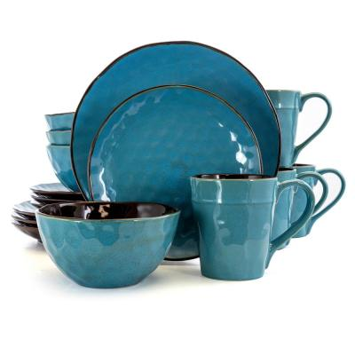 Sea Glass 16-Piece Hammered Turquoise Stoneware Dinnerware Set (Service for 4)