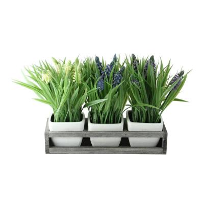9.5 in. Decorative Lavender in Off White Petite Vase with Distressed Wood Tray