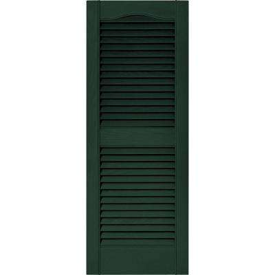 15 in. x 39 in. Louvered Vinyl Exterior Shutters Pair in #122 Midnight Green