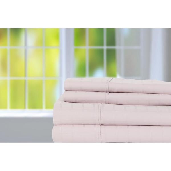 Lavender 440 Thread Count 1 in  Square Window Pane King Sheet Set