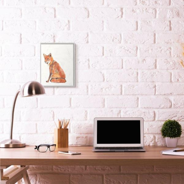 Stupell Industries Curious Fox Orange Watercolor Animal Orange Painting By Jennifer Goldberger Framed Wall Art 14 In X 11 In Aa 011 Gff 11x14 The Home Depot