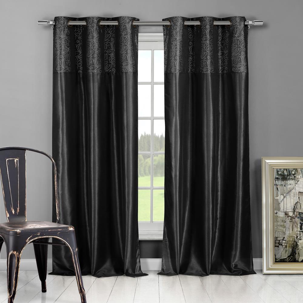Minkana 54 in. W x 84 in. L Polyester Window Panel in Black