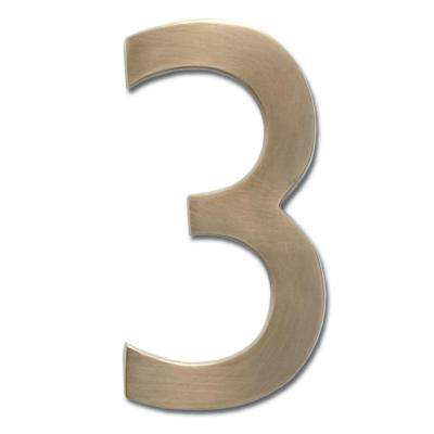 4 in. Antique Brass Floating House Number 3