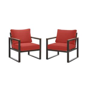 West Park Black Aluminum Outdoor Patio Lounge Chair with CushionGuard Chili Red Cushions (2-Pack)