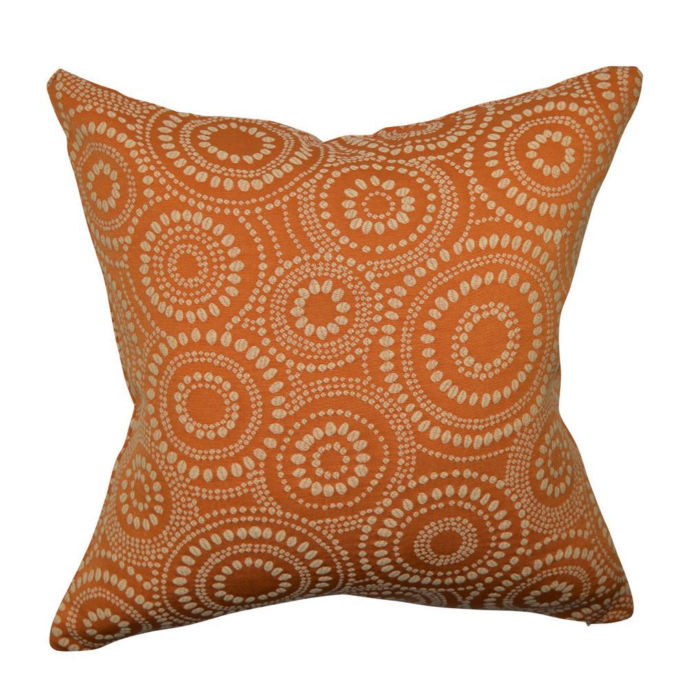 Orange Circle Link Dotted Throw Pillow