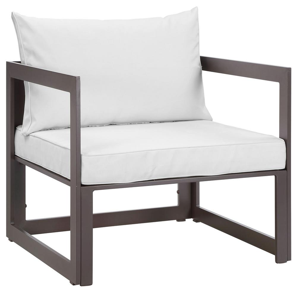 Fortuna Aluminum Outdoor Patio Lounge Chair in Brown with White Cushions