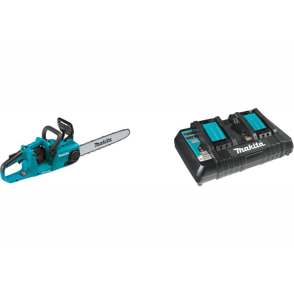 16 in. 18-Volt X2 (36-Volt) LXT Brushless Cordless Chain Saw with Bonus 18-Volt LXT Dual Port Rapid Optimum Charger