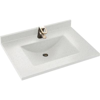 Contour 37 in. W x 22 in. D Solid Surface Vanity Top with Sink in Arctic Granite