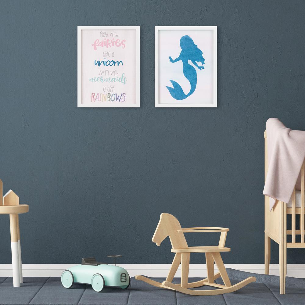 13 in. x 17 in. Blue Swim With Mermaids Framed Wall Art (Set of 2)
