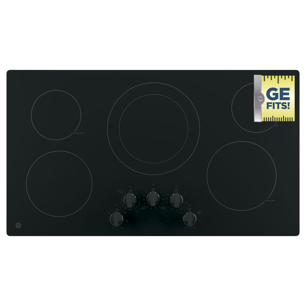 GE 36 in. Electric Cooktop Built-in Knob Control in Black with 5 Elements GE Appliances provide up-to-date technology and exceptional quality to simplify the way you live. With a timeless appearance, this family of appliances is ideal for your family. And, coming from one of the most trusted names in America, you know that this entire selection of appliances is as advanced as it is practical. Color: Black.