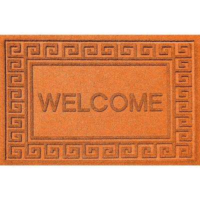 Greek Welcome Orange 24x36 Polypropylene Door Mat