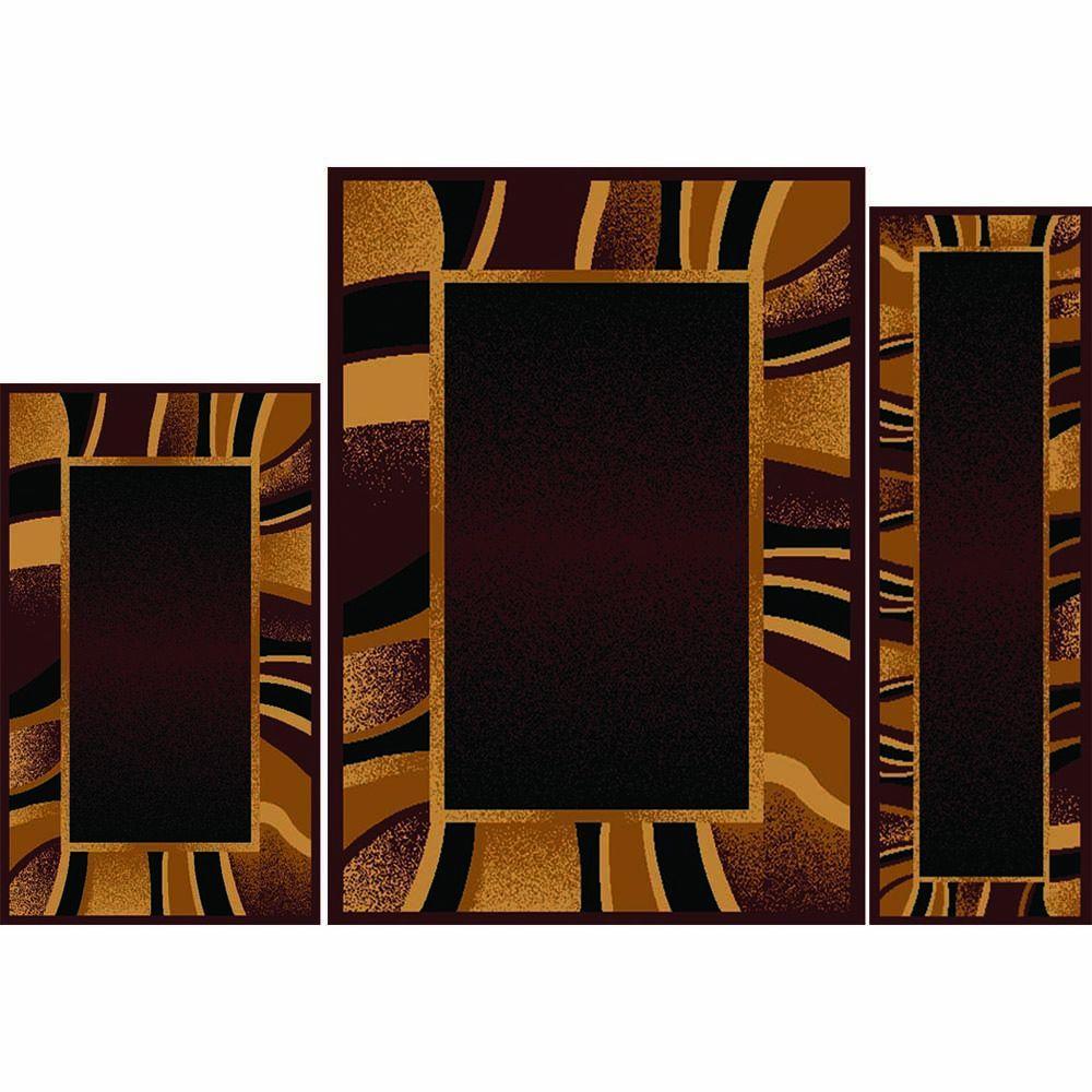 Home Dynamix Ariana Brown 5 Ft X 7 3 Piece Rug Set