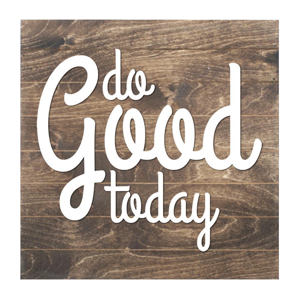 Do Good Today Slat Board, BROWN/WHITE LETTERS, Memo Board