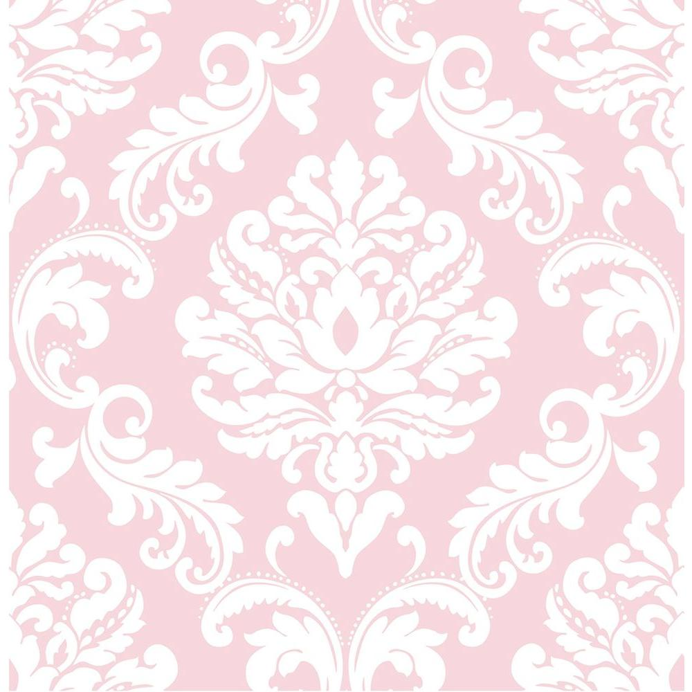 nuwallpaper pink ariel peel and stick wallpaper-nu1397 - the home depot