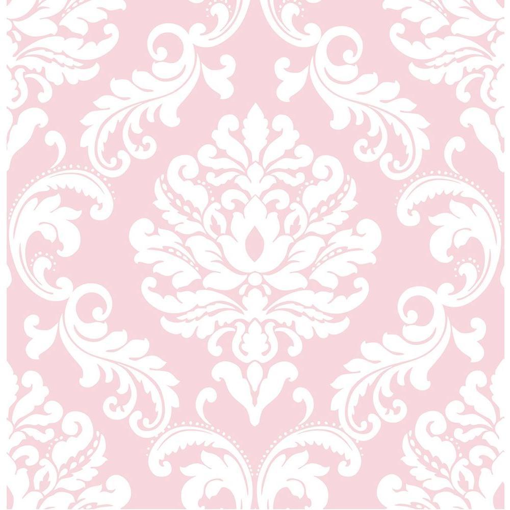 Pink Ariel Peel and Stick Wallpaper