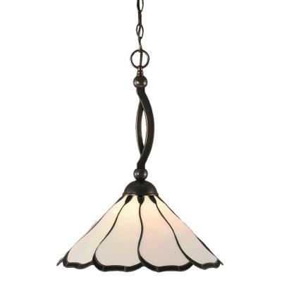 Concord 1-Light Black Copper Pendant with Pearl and Black Flair Tiffany Glass