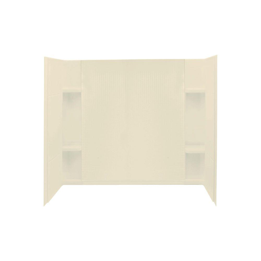 STERLING Accord 36 in. x 60 in. x 77-1/2 in. Three Piece Direct-to-Stud Wall Set in Almond-DISCONTINUED