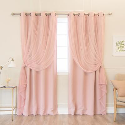 84 in. L uMIXm Dusty Pink  Tulle and Blackout Curtain Panel (4-Pack)