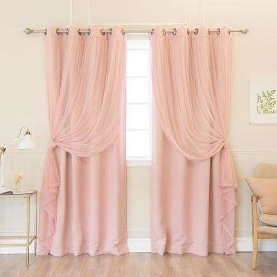 84 in. L uMIXm Dusty Pink Colored Tulle and Blackout Curtain Panel (4-Pack)