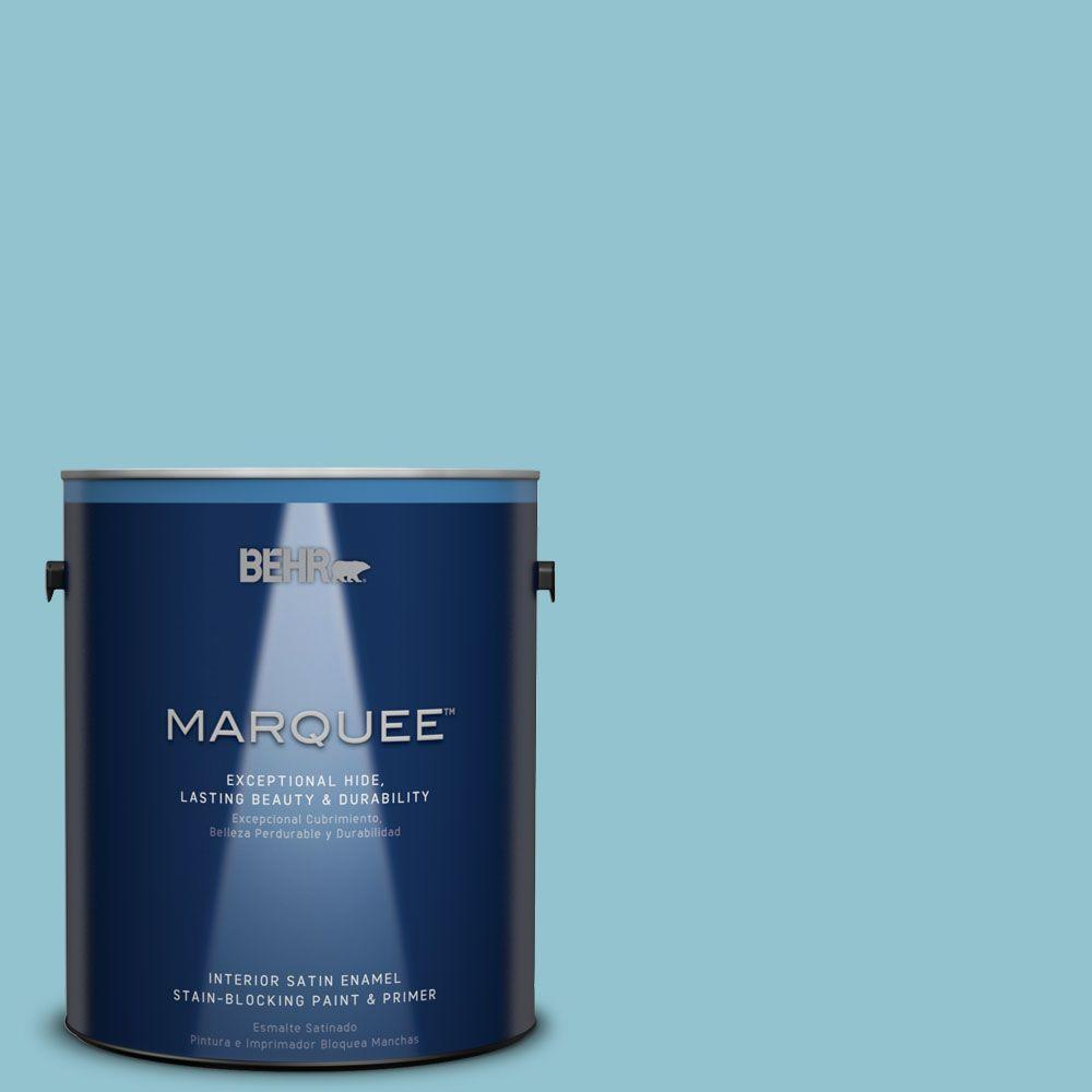 1 gal. #MQ6-32 Cosmic Blue One-Coat Hide Satin Enamel Interior Paint