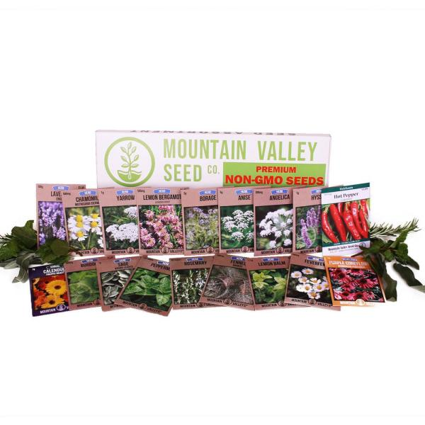 Mountain Valley Seed Company Medicinal And Herbal Tea Garden Seeds Collection Premium Assortment 18 Non Gmo Herb Seeds Angelica Borage More 41786 The Home Depot
