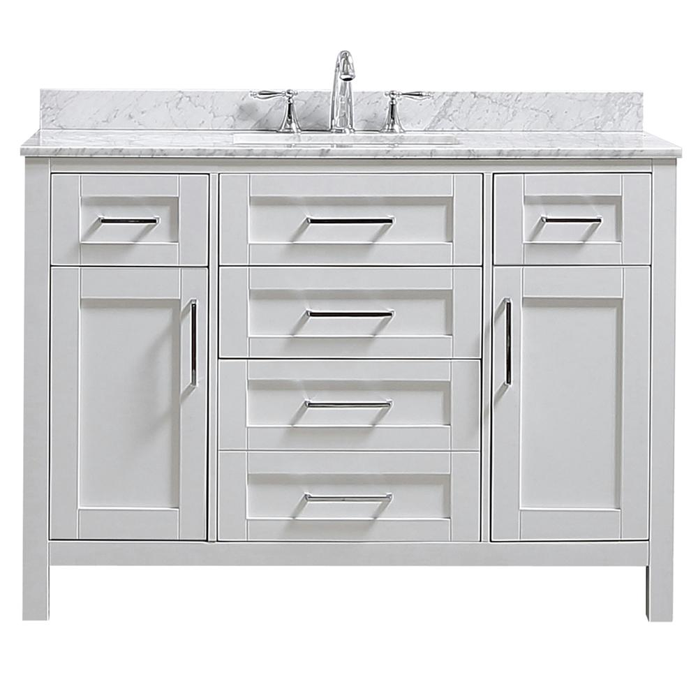 Home Decorators Collection Riverdale 48 in. W x 21 in. D Vanity in White with a Marble Vanity Top in White with White Sink