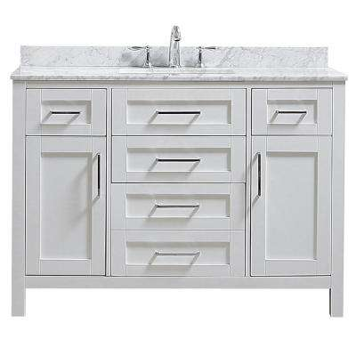 Riverdale 48 in. W x 21 in. D Vanity in White with a Marble Vanity Top in White with White Sink