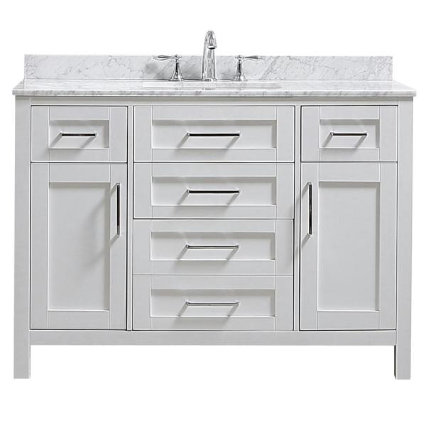 Riverdale 48 in. W x 21 in. D Vanity in White with a Carrara Marble Vanity Top in White with White Sink