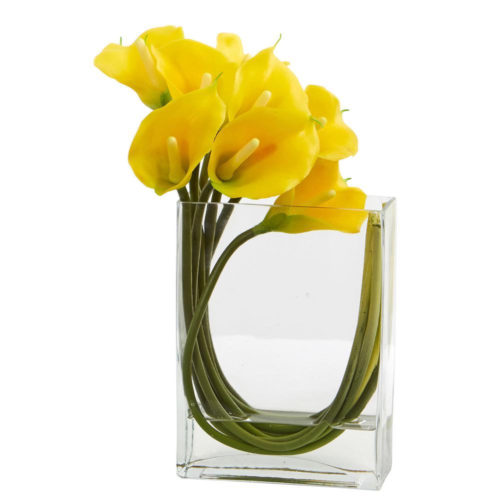 12 in. High Yellow Calla Lily in Rectangular Glass Vase Artificial Arrangement
