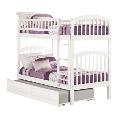 Richland White Twin Over Twin Bunk Bed with Twin Raised Panel Trundle Bed