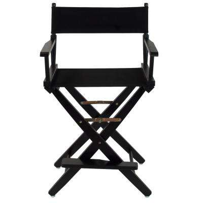 24 in. Extra-Wide Black Wood Frame/Black Canvas Seat Folding Directors Chair